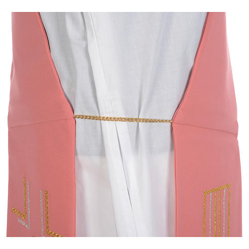 Estola diaconal cor-de-rosa 100% poliéster alfa e ómega 5
