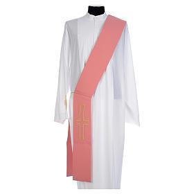 Pink Deacon Stole Alpha and Omega 100% polyester s1