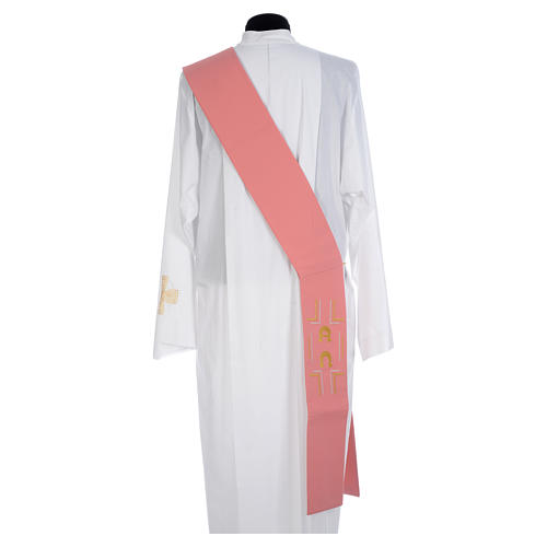 Pink Deacon Stole Alpha and Omega 100% polyester 2