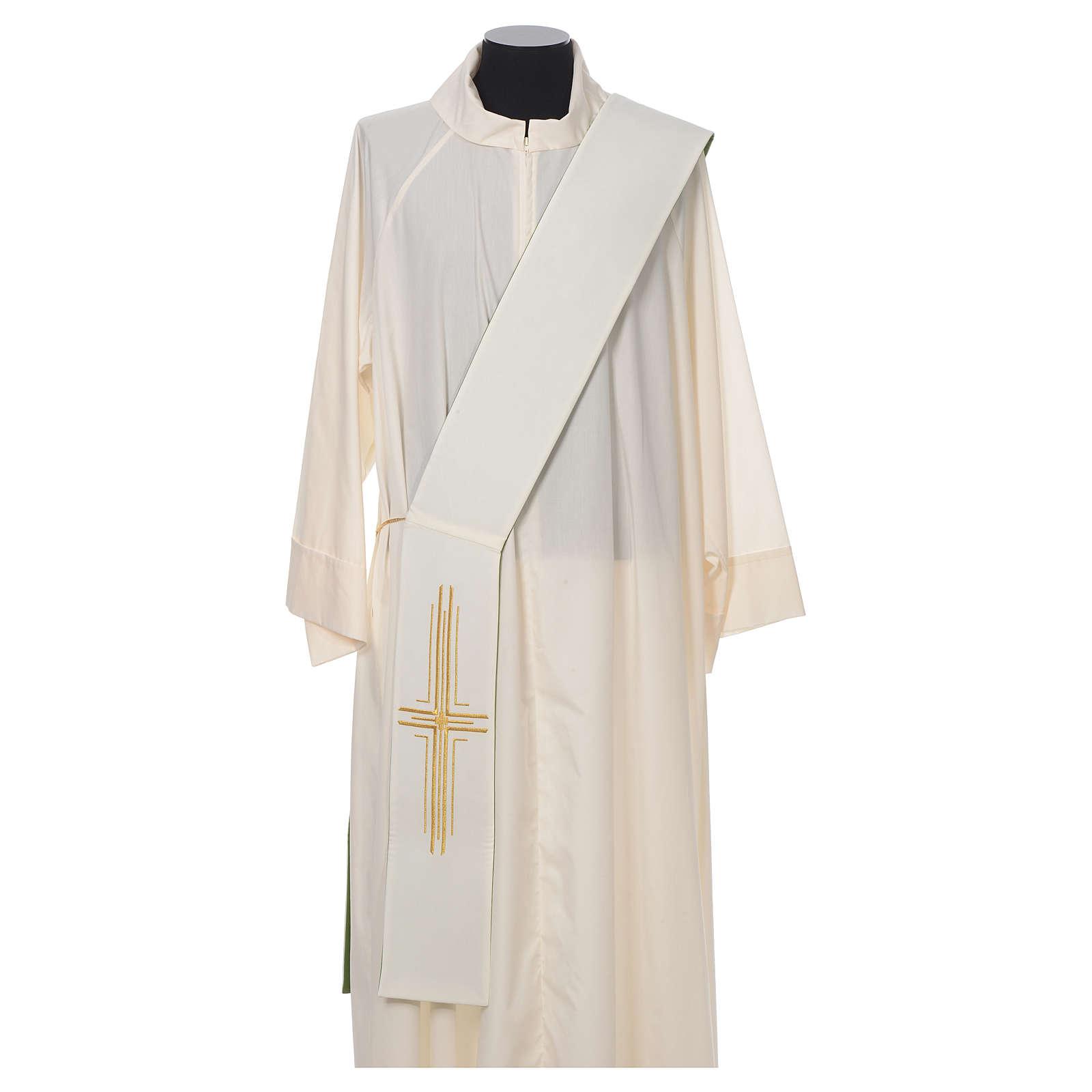 Estola diaconal poliéster cruz blanco verde reversible 4