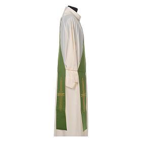 Estola diaconal poliéster cruz blanco verde reversible s2