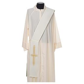Estola diaconal poliéster cruz blanco verde reversible s4