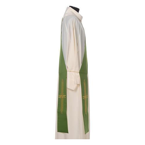 Estola diaconal poliéster cruz blanco verde reversible 2