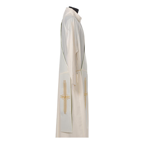 Estola diaconal poliéster cruz blanco verde reversible 5