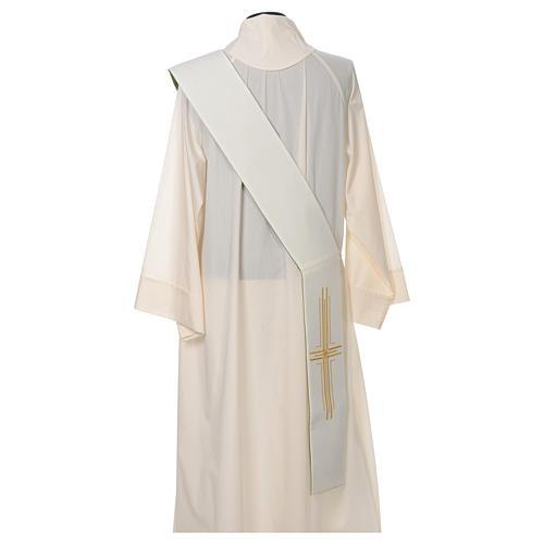 Estola diaconal poliéster cruz blanco verde reversible 6