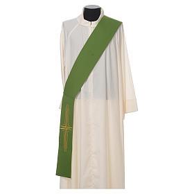 Stola diaconale poliestere croce bianco verde double face s1