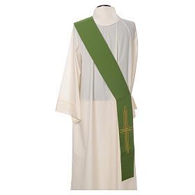 Stola diaconale poliestere croce bianco verde double face s3