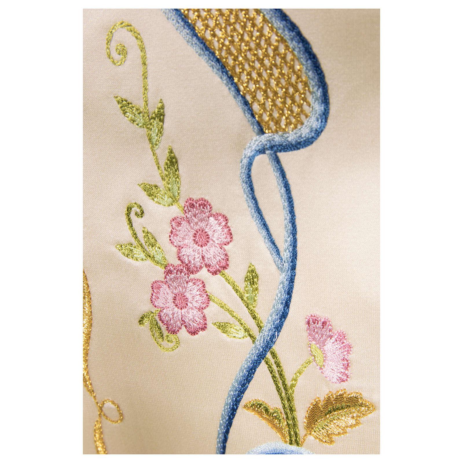 Estolón gótico de tejido 100% pura seda natural bordado directo 4