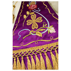 Estolón gótico de tejido 100% pura seda natural bordado directo s6
