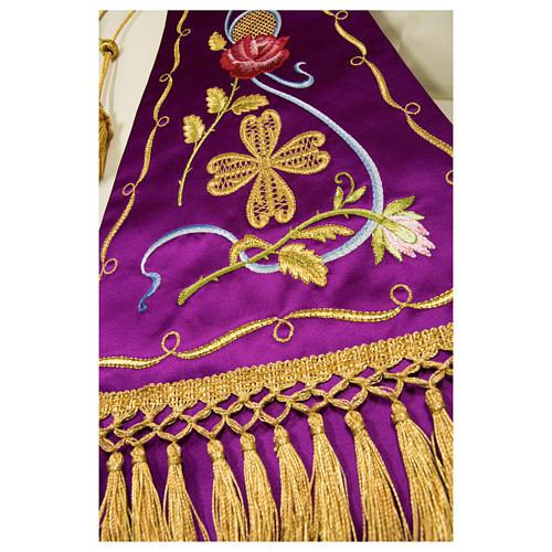 Estolón gótico de tejido 100% pura seda natural bordado directo 6