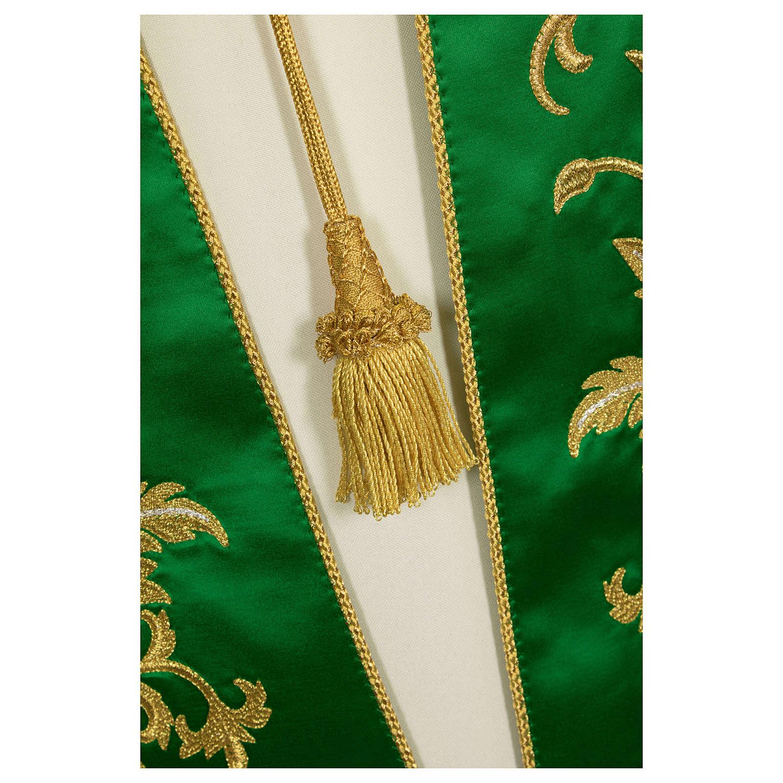 Étole brodée main avec décors couleur or pure soie 4