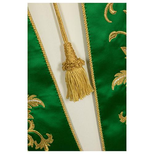 Étole brodée main avec décors couleur or pure soie 8
