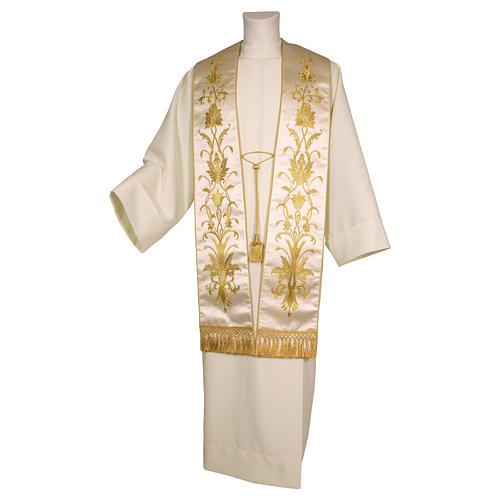 Stolone ricamato a mano con decori colore oro pura seta 2