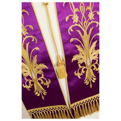 Stolone ricamato a mano con decori colore oro pura seta 5