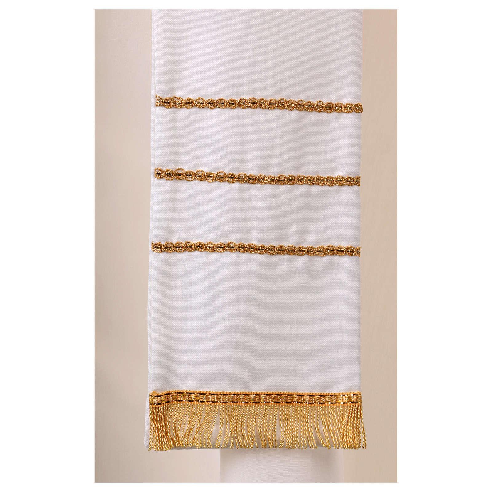 Stola bianca con ricamo a mano in lana Monastero Montesole 4