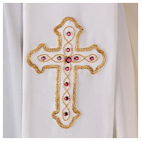 Stola bianca con ricamo a mano in lana Monastero Montesole s2