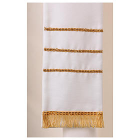 Stola bianca con ricamo a mano in lana Monastero Montesole s3