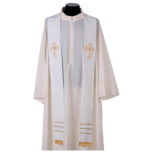Stola bianca con ricamo a mano in lana Monastero Montesole 1