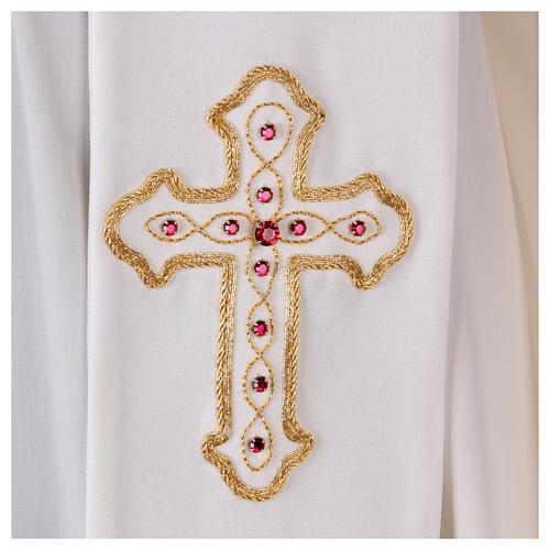 Stola bianca con ricamo a mano in lana Monastero Montesole 2