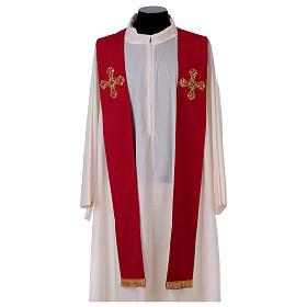 Stola in lana ricamata a mano rosso - Monastero Montesole s1