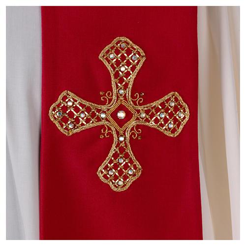 Stola in lana ricamata a mano rosso - Monastero Montesole 2