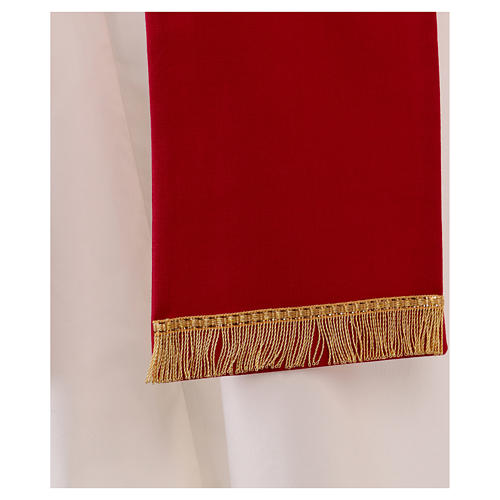 Stola in lana ricamata a mano rosso - Monastero Montesole 3