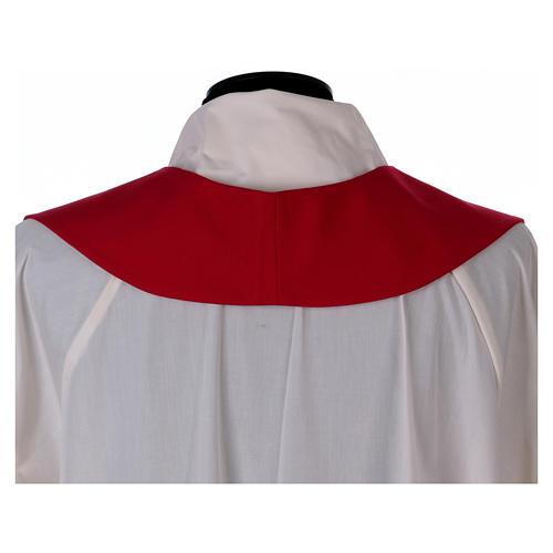 Stola in lana ricamata a mano rosso - Monastero Montesole 4