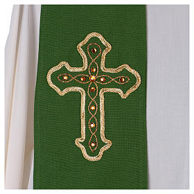 Stola in pura lana ricamata a mano verde Monastero Montesole s2