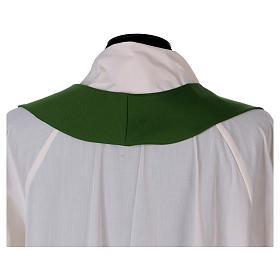 Stola in pura lana ricamata a mano verde Monastero Montesole s4