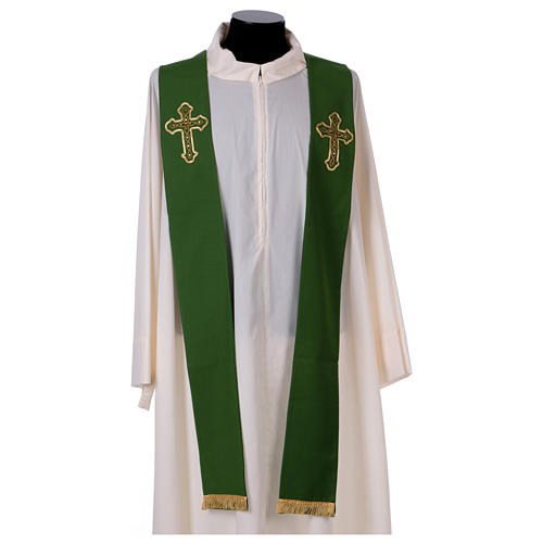 Stola in pura lana ricamata a mano verde Monastero Montesole 1