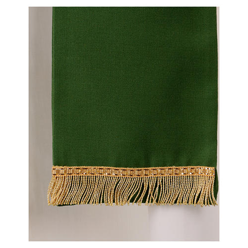 Stola in pura lana ricamata a mano verde Monastero Montesole 3