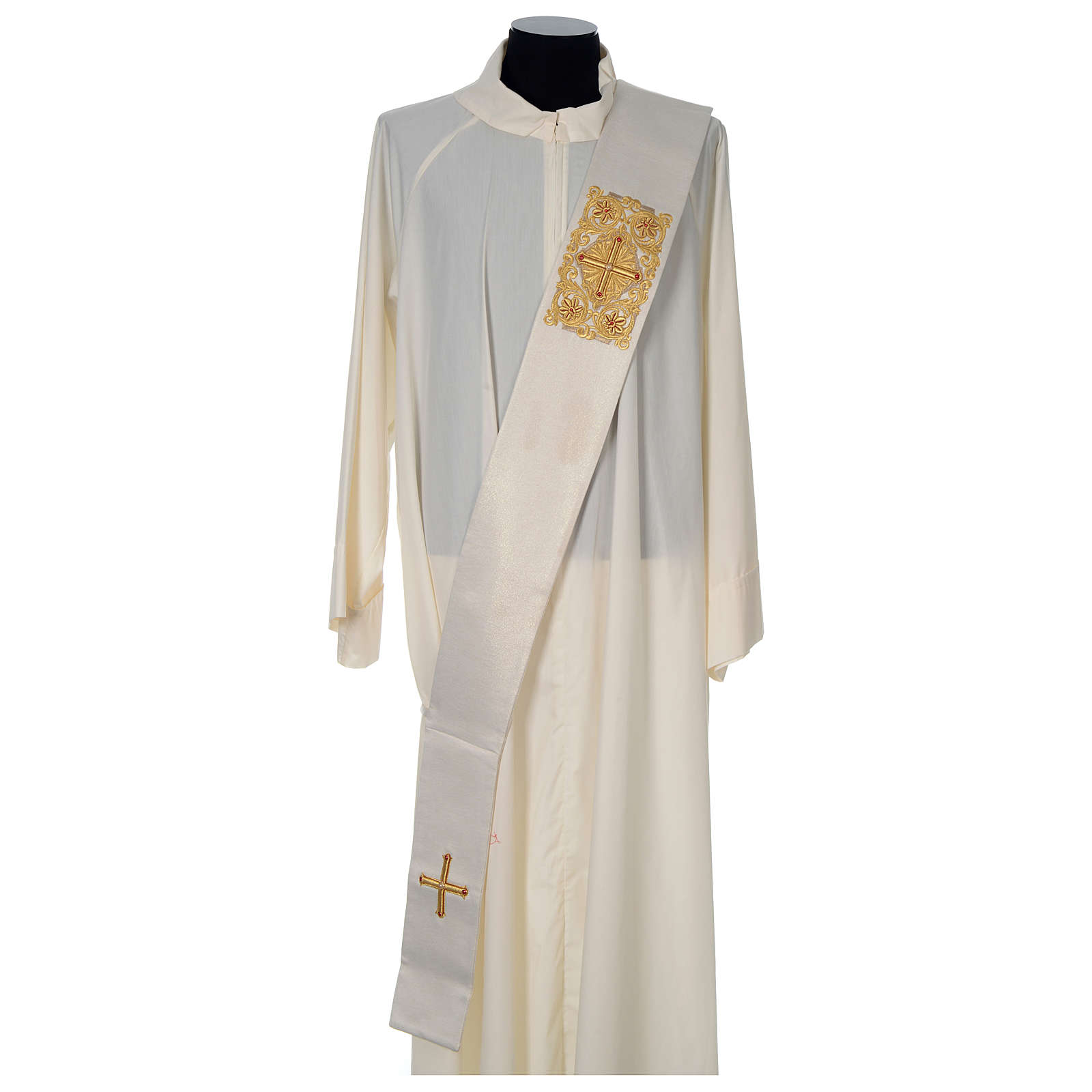 Diaconal stole Limited Edition decorated with red stones, ivory 4