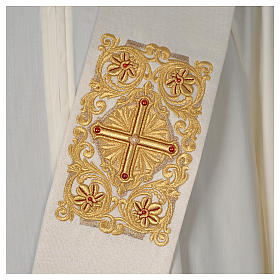 Diaconal stole Limited Edition decorated with red stones, ivory s2