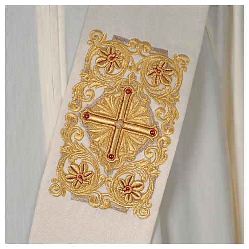Diaconal stole Limited Edition decorated with red stones, ivory 2
