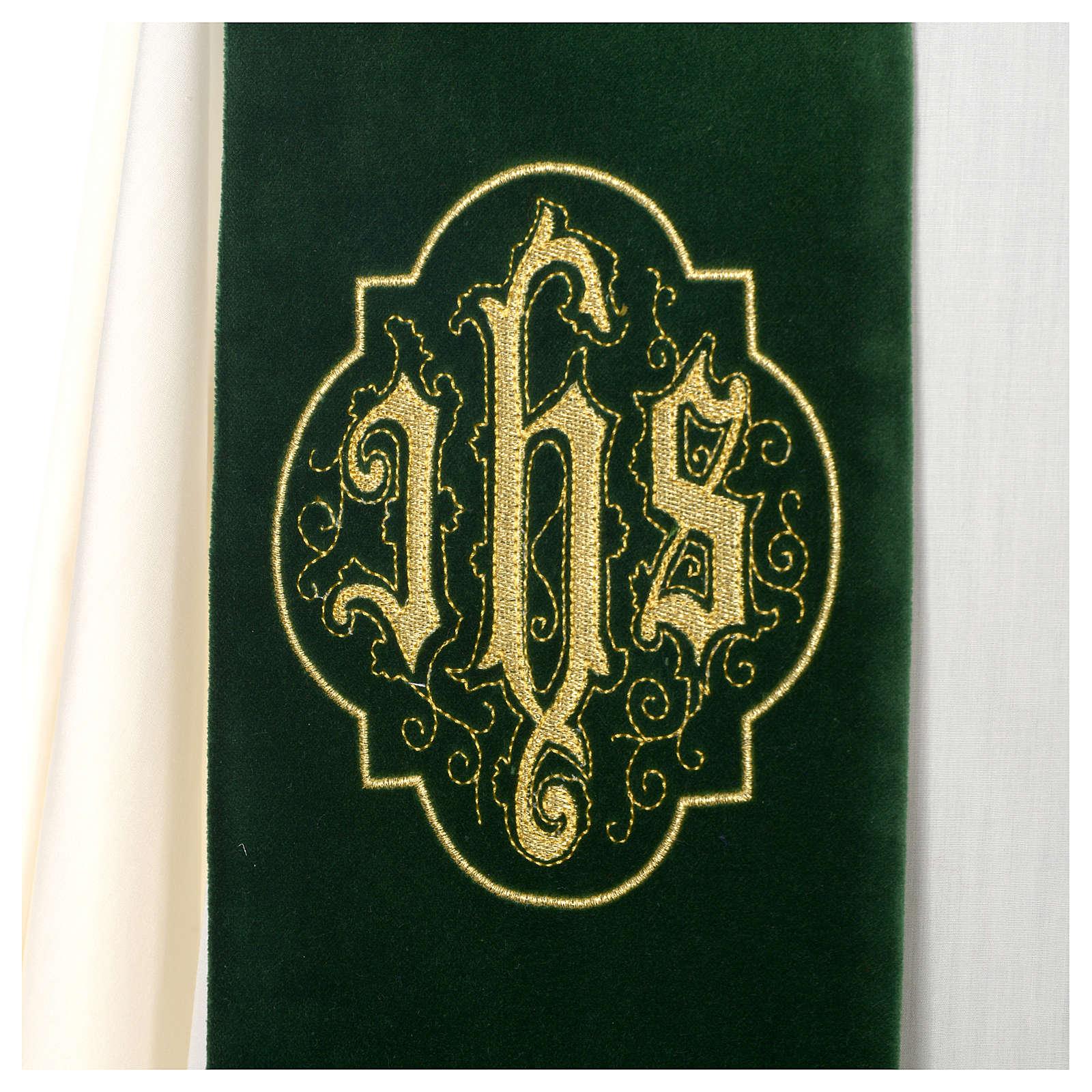 Estola Veludo Bordado Dourado e Cristograma IHS 4