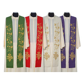 IHS wool stole with gold motif embroidery s1