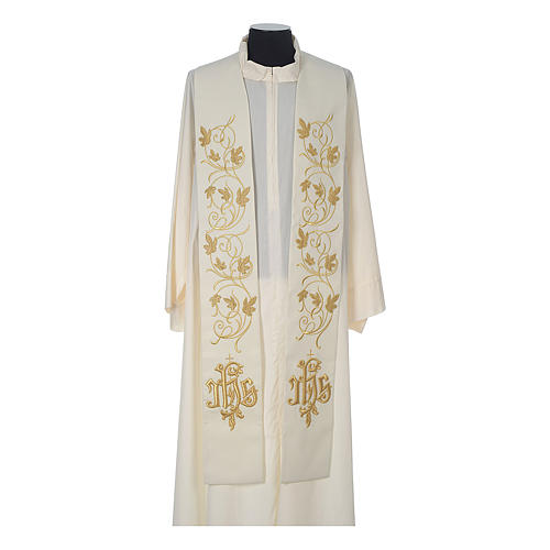 IHS wool stole with gold motif embroidery 4