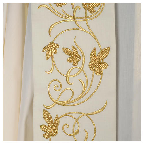 IHS wool stole with gold motif embroidery 6