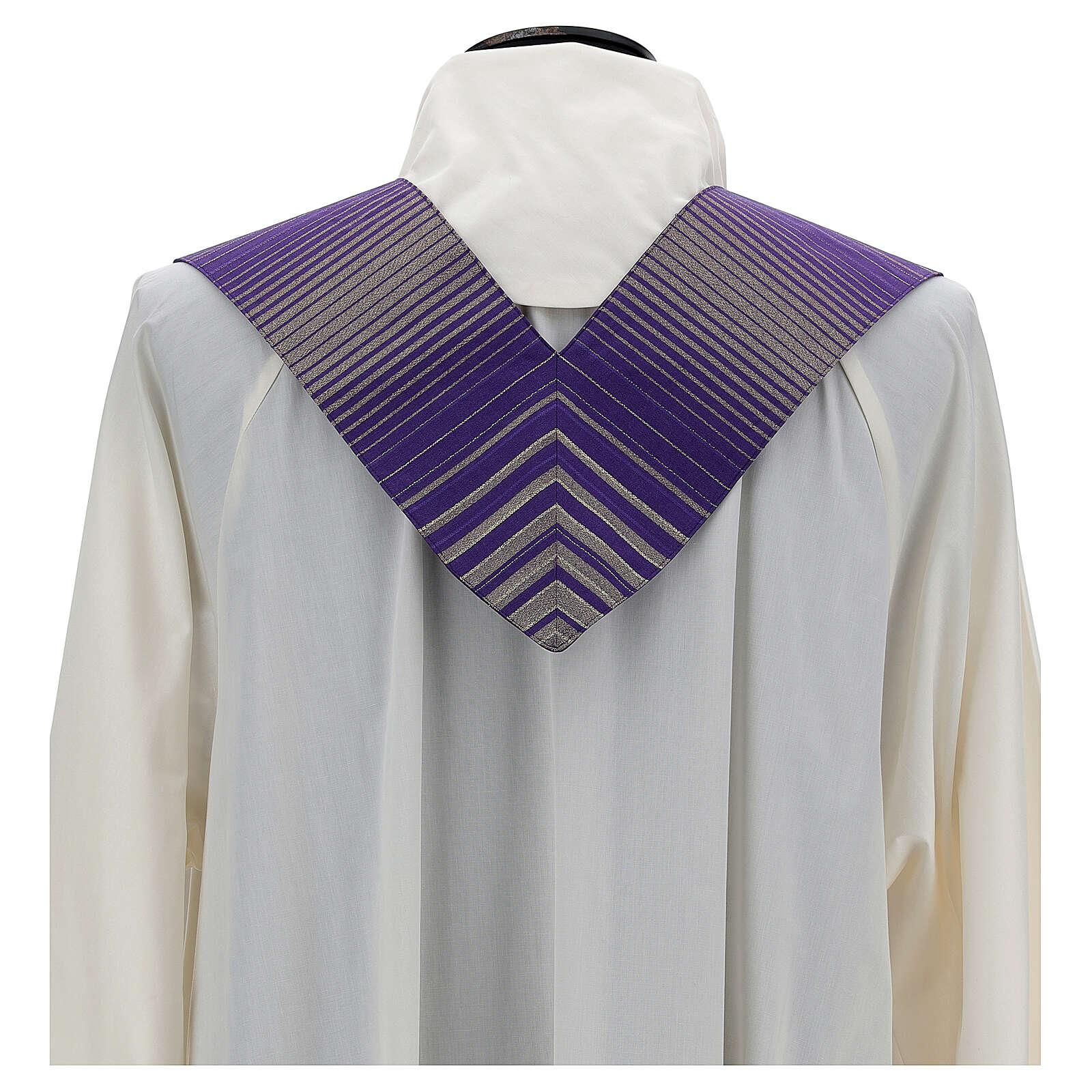 Estola rayada lana lurex cruz bordada con máquina 4