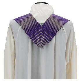 Estola rayada lana lurex cruz bordada con máquina s3