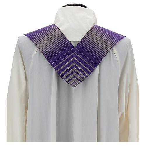 Estola rayada lana lurex cruz bordada con máquina 3