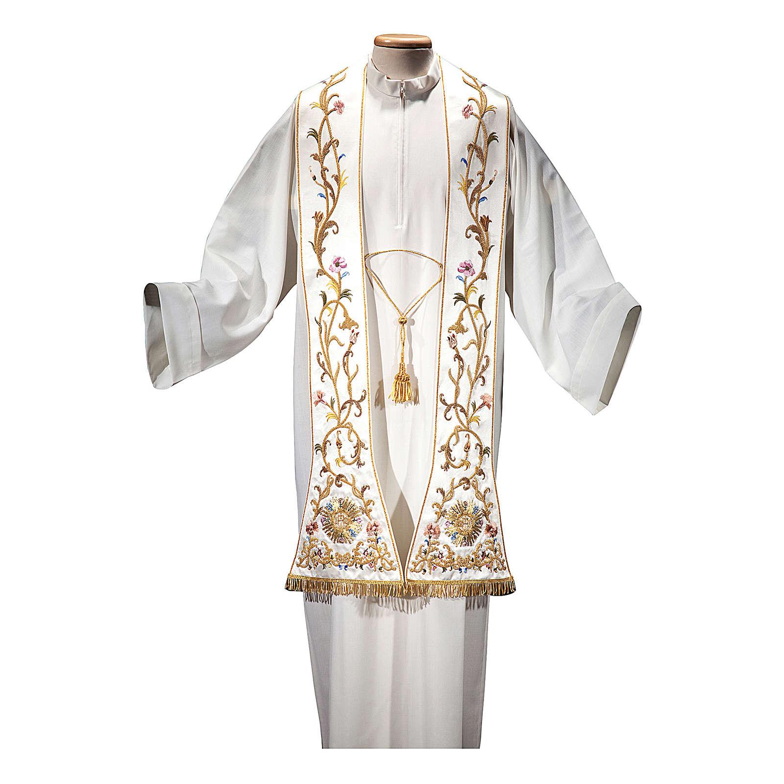 Estola romana seda algodón con fleco dorado BORDADO A MANO 4