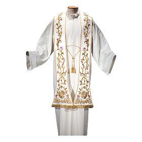 Estola romana seda algodón con fleco dorado BORDADO A MANO s1