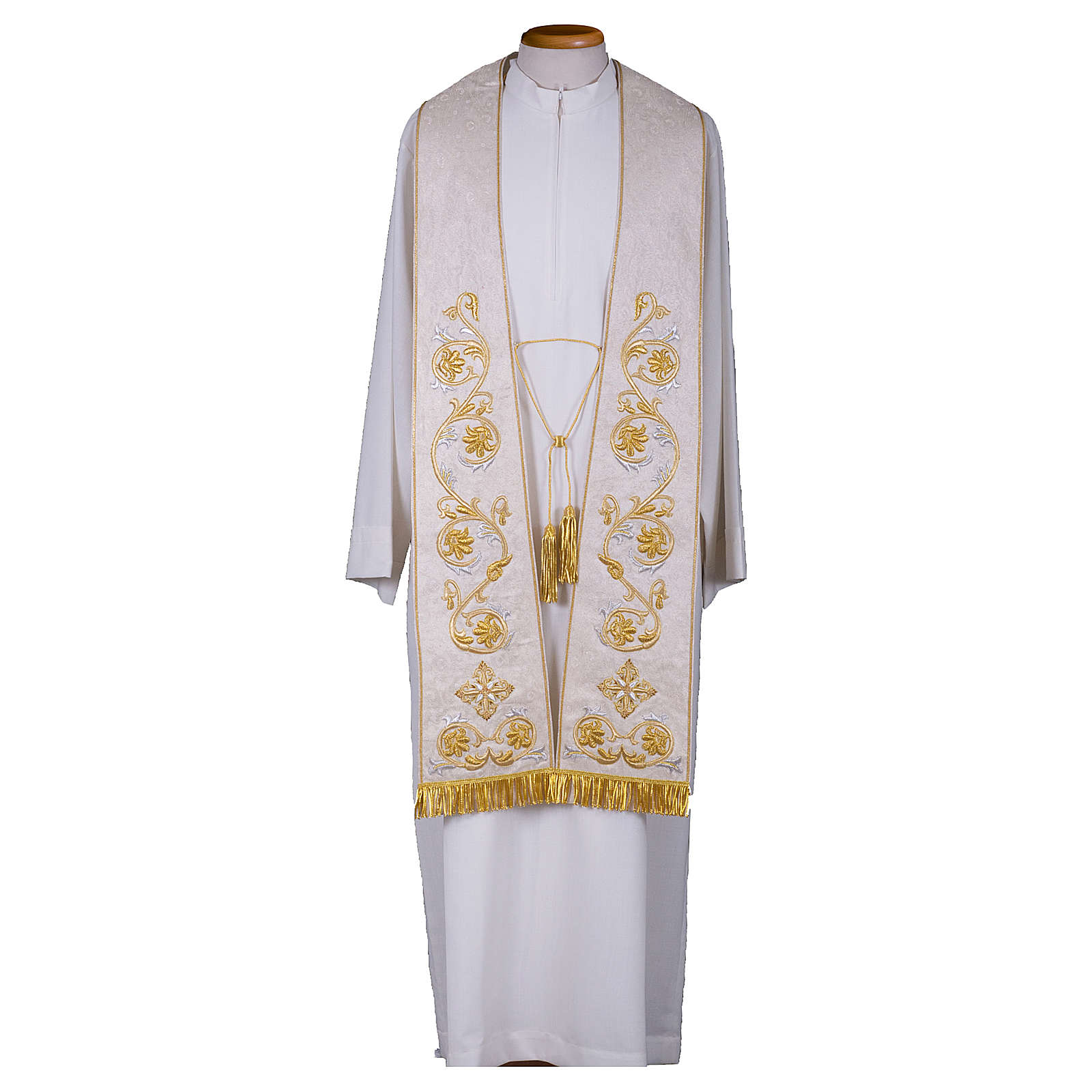 Clergy Stole in pure silk with fringe and tassels, hand-embroidered 4