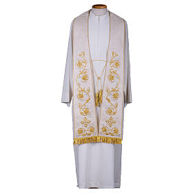Clergy Stole in pure silk with fringe and tassels, hand-embroidered s1