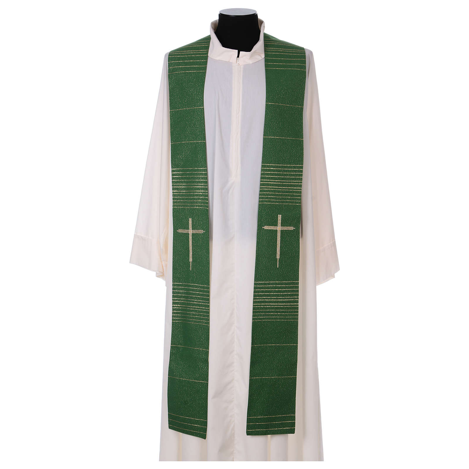 Stole in polyester and lurex with hand embroidered cross 4