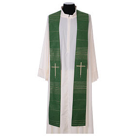 Stole in polyester and lurex with hand embroidered cross s1