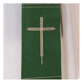 Stole in polyester and lurex with hand embroidered cross s2