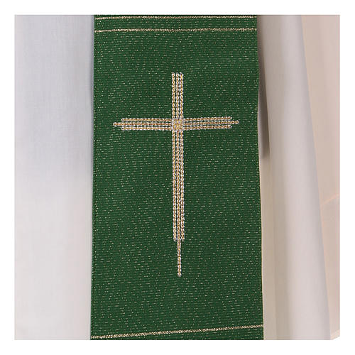 Stole in polyester and lurex with hand embroidered cross 2