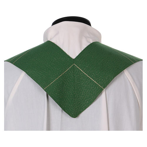 Stole in polyester and lurex with hand embroidered cross 3